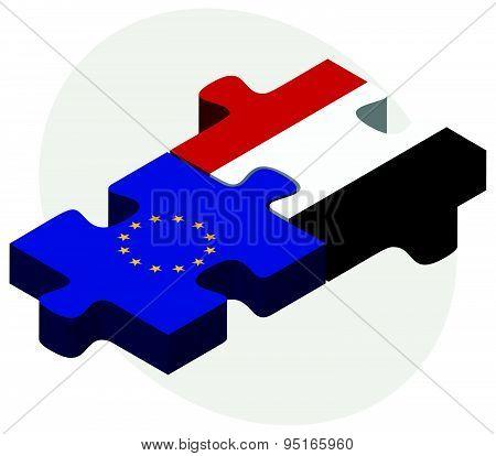 European Union And Yemen Flags