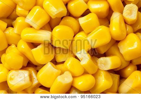 Close-up Of Tinned Sweetcorn From Above.