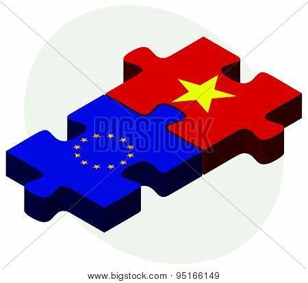 European Union And Vietnam Flags