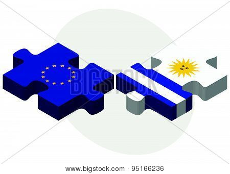 European Union And Uruguay Flags