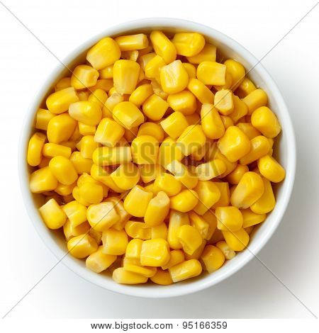 Bowl Of Tinned Sweetcorn Isolated From Above On White.