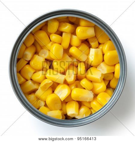 Open Tin Of Sweetcorn Isolated From Above.