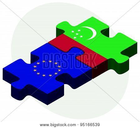 European Union And Turkmenistan Flags