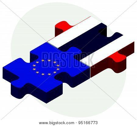 European Union And Thailand Flags