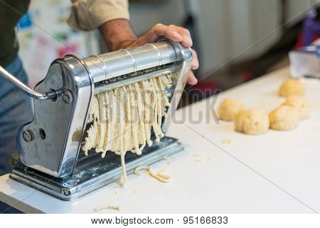 Home Made Pasta With Old Machine And Old Recepie Book.