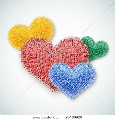 Valentine Card. Several Multi-colored Fluffy Hearts.