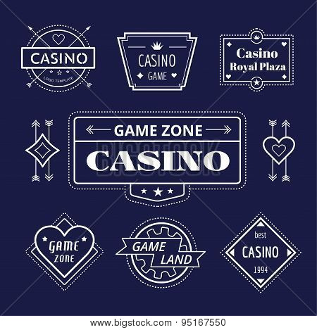 Casino vector logo icons set. Poker, cards or game and money symbol. Stocks design elements.