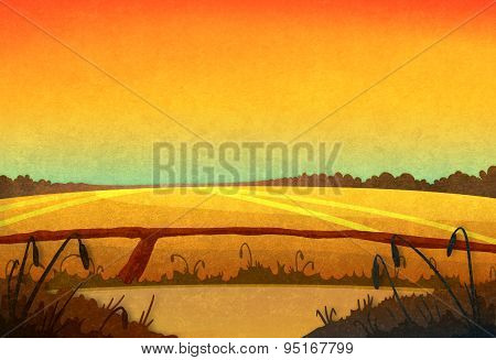 Sunset In The Fields.