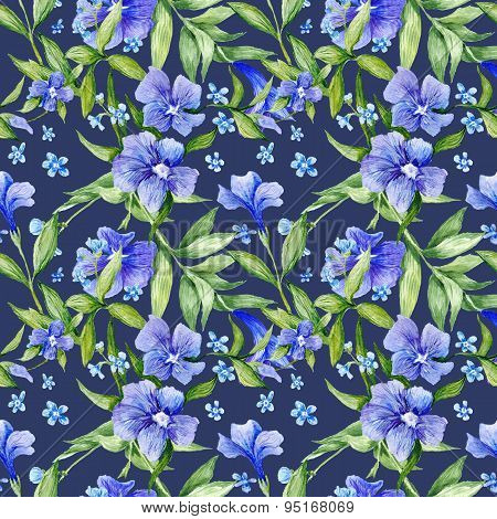 Tileable Floral Texture on Blue Background