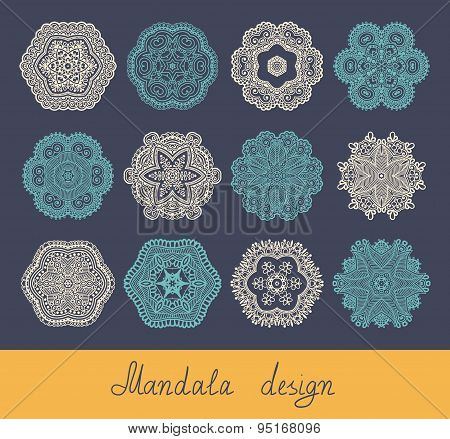 set of 12 mandala design, circle ornament collection for print