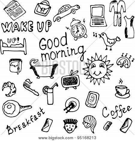 Morning icons set