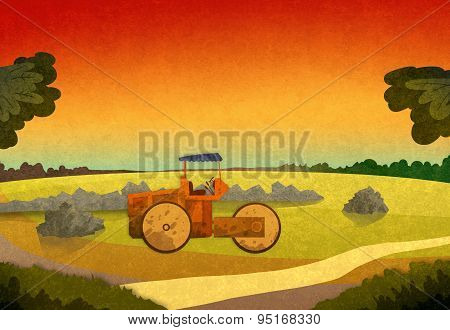 Sunset In The Fields With Farming Vehicle.