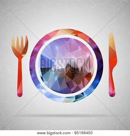 Abstract Creative concept vector icon of plate with knife and fork for Web and Mobile Applications i