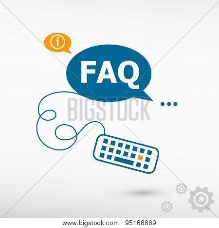 Faq And Keyboard On Chat Speech Bubbles.