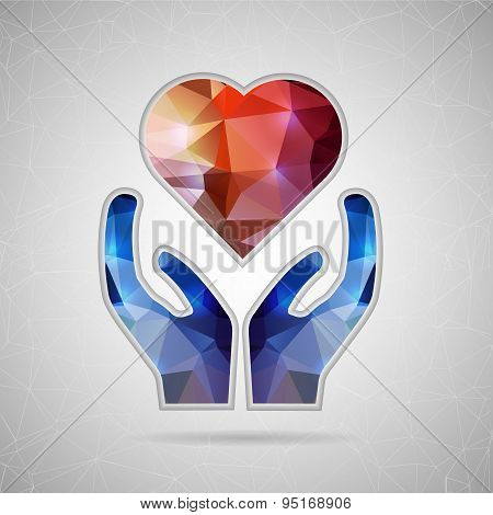 Abstract Creative concept vector icon of heart in hand for Web and Mobile Applications isolated on b