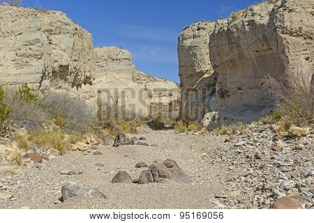 Dry Riverbed In A Desert Canyon