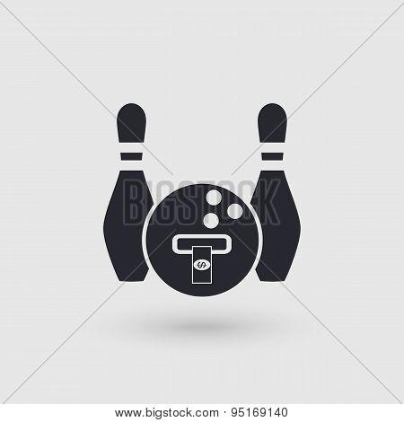 Icon Bowling. Banking Terminal, Atm Bowling Club. Pictogram Pointer.