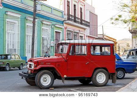 Matanzas, Cuba - February 5, 2008. Classic Oldtimer Automobile Parking on a street.