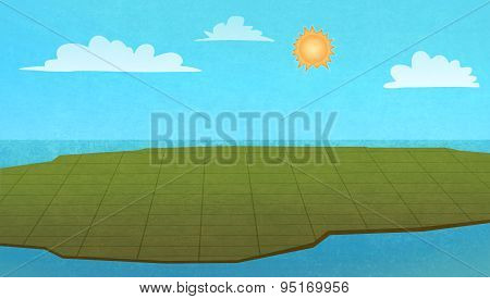Land From Above, Colorful Graphic Illustration.