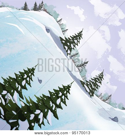 Winter Landscape. Snow Slide With Fir Trees.