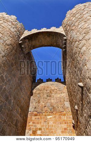 Avila Castle Walls Arch Cityscape Castile Spain