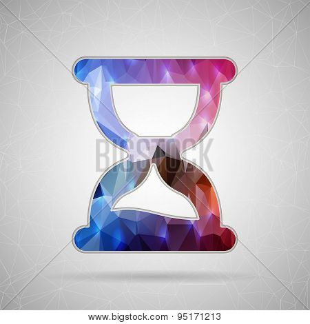 Abstract Creative concept vector icon of hourglass for Web and Mobile Applications isolated on backg