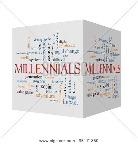 Millennials 3D Cube Word Cloud Concept