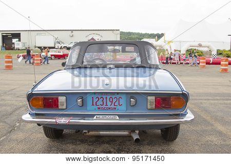 Blue Triumph Spitfire 1500 Car Rear View