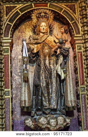 Virgin Mary Wooden Statue San Juan Bautista Church Avila Castile Spain