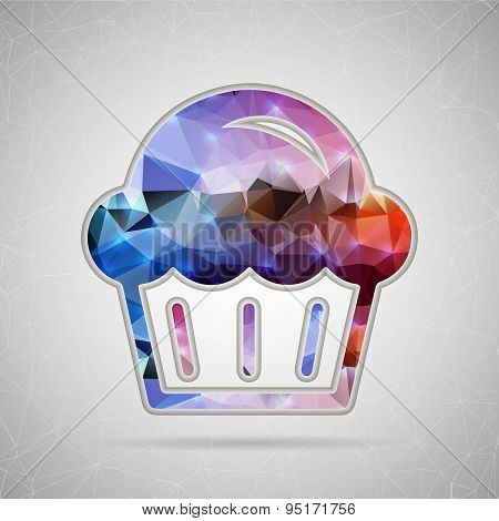 Abstract Creative concept vector icon of muffin for Web and Mobile Applications isolated on backgrou