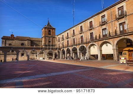 Plaza Mayor Avila Arches Cityscape Castile Spain