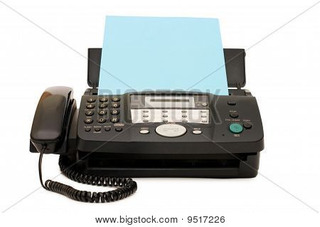 Black Fax Isolated On White Background