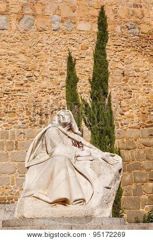 White Saint Teresa Statue Avila Castle Walls Arch Castile Spain