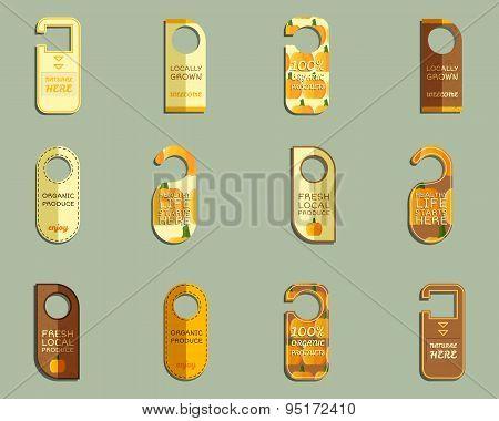Stylish Farm Fresh brand door badge, sticker templates set. Organic, eco. Mock up design. Orange col