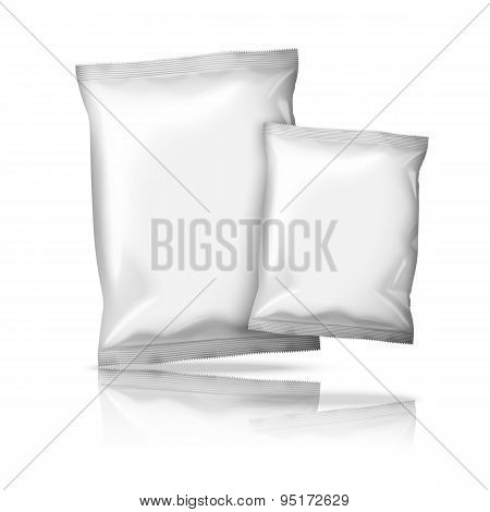 Two sizes of blank realistic foil snack packs isolated on white background. Vector illustration