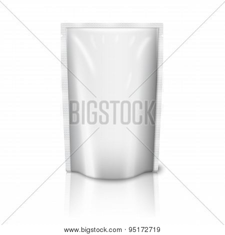 Blank realistic plastic pouch isolated on white background. Vector
