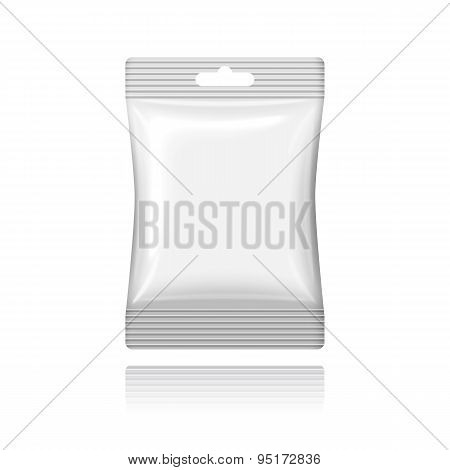 Blank white plastic sachet with hanging hole on the cash. Vector