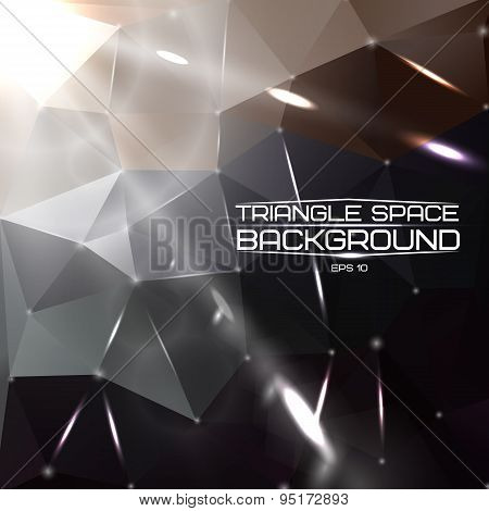 Abstract triangle space background with bright lights and comets. Vector