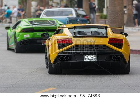 Lamborghini Huracan And Lamborghini Gallardo Car On Display