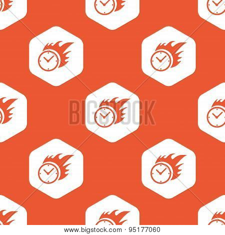Orange hexagon burning clock pattern