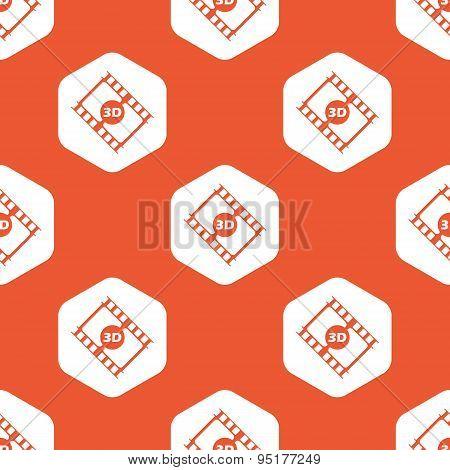Orange hexagon 3D movie pattern