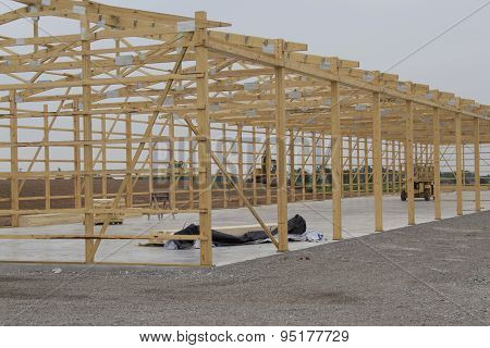 Frame Being Built For Storage Unit Building Close Up