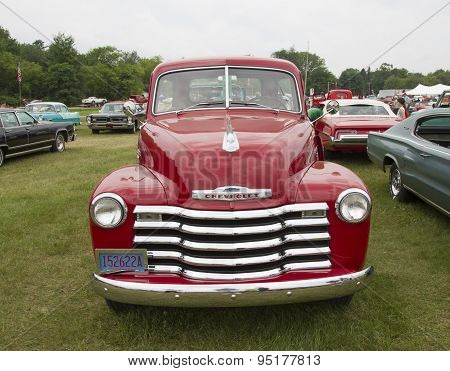Vintage Red Chevy 3600 Pickup Truck Front View
