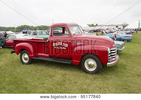 Vintage Red Chevy 3600 Pickup Truck Side View