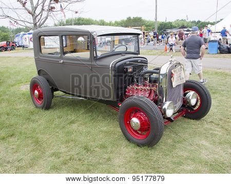 Vintage Gray And Red Ford Hot Rod