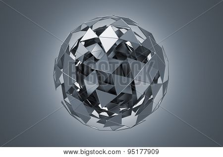Low Poly Metal Sphere with Chaotic Structure.