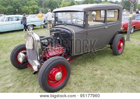 Vintage Gray And Red Ford Hot Rod Side View