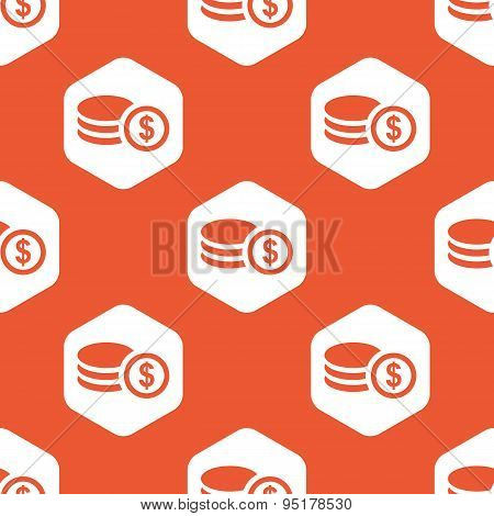 Orange hexagon dollar rouleau pattern