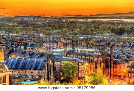 Sunset Over Edinburgh As Seen From Calton Hill - Scotland