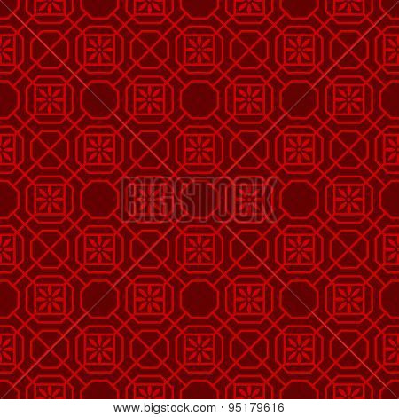 Seamless vintage Chinese window tracery polygon flower pattern background.